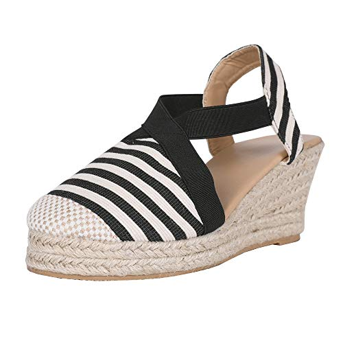 - Nailyhome Womens Espadrilles Platform Wedge Sandals Striped Elastic Crisscross Strappy Closed Toe Mid Heel Sandals