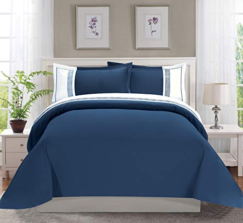 Elegant Comfort Luxury Super-Soft Coziest 1500 Thread Count Egyptian Quality 3-Piece Greek Embroidered Duvet Cover Set, (Insert Comforter Protector) Wrinkle-Free, King/California King, Navy Blue/White