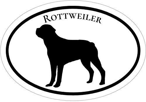 ION Graphics Oval Rottweiler Dog Vinyl Window Decal - Rottweiler Bumper Sticker - Perfect Rottweiler Owner Gift Size: 4.7 x 3.3 inch
