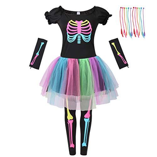 Meeyou Girls Skeleton Costume, Funky Punk Bones