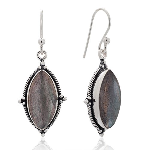 Labradorite Earrings Mystic (925 Sterling Silver Labradorite Gemstone Vintage Marquise Shape Rope Edge Dangle Hook Earrings 1.4