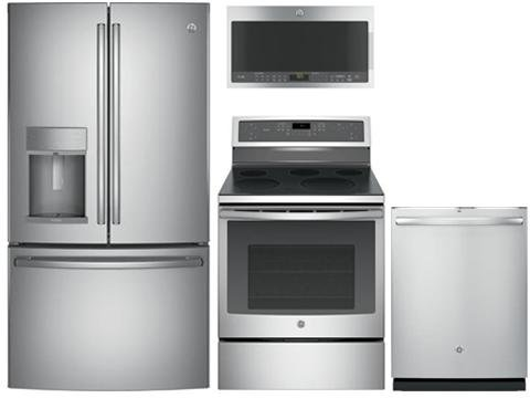 GE Profile Package With PFE28KSKSS 36u0027u0027 French Door Refrigerator, PB911SJSS  30u0027u0027