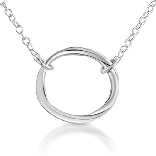 Azaggi 925 Sterling Silver Karma Ring Circle of Life Pendant Necklace (16 Inches)