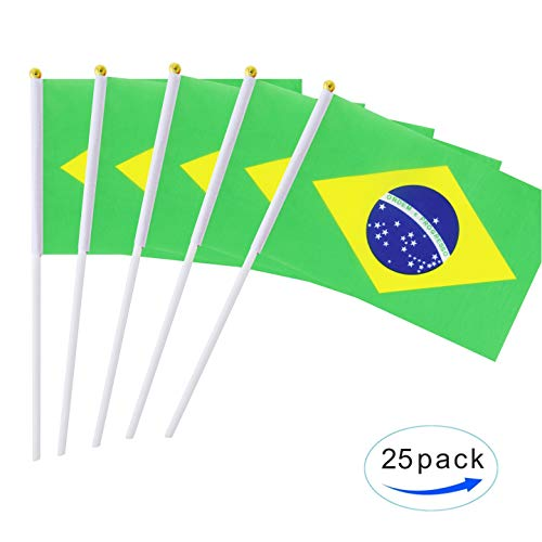 Kind Girl 25 Pack Hand Held Small Mini Flag Brazil Flag Brazilian Stick Flag Round Top National Country Flags,Party Decorations Supplies for Parades,World Cup,Festival Events,International Festival