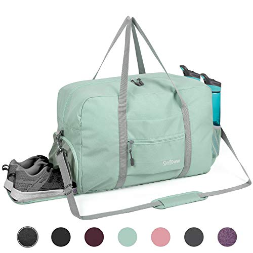 Sports Gym Bag with Wet Pocket & Shoes Compartment, Travel Duffel Bag for Men and Women Lightweight, Mint Green