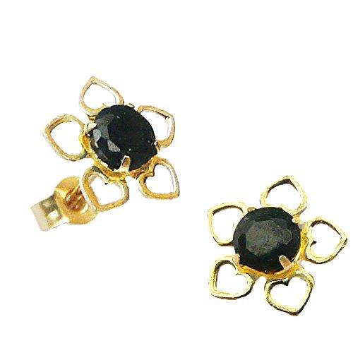 Austral Jewellery - 9Ct Or Jaune Réel Saphir Cinq Pétale Fleur Boucles D'Oreilles - Pierre De Naissance Septembre - L'Automne Délice