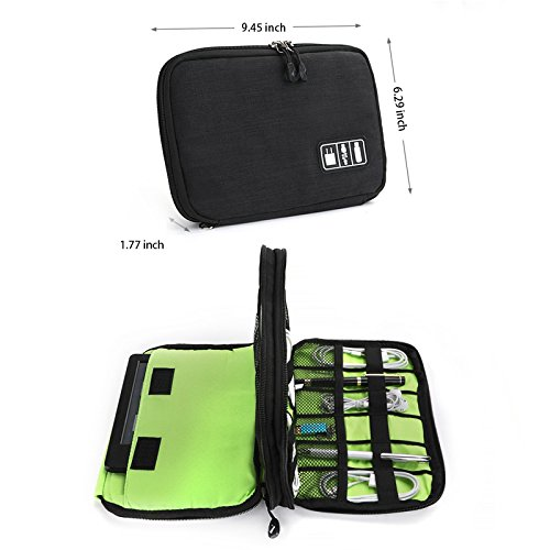 YC Choice Cable Organizer Bag, Universal Double Layer Travel USB Storage Bag Electronics Accessories Travel Organizer Bag for iPad, USB,Flash Drive,Phone,Charger,Power Bank by YC Choice (Image #2)