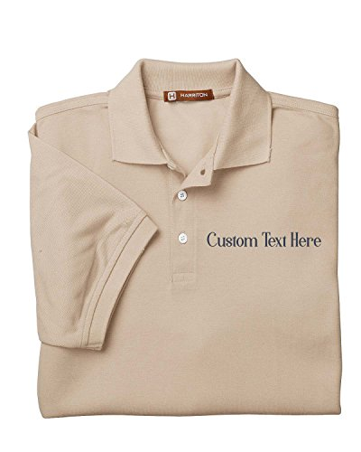 KAMAL OHAVA Men's Personalized Uniform Pique Polo Shirt, L, Stone