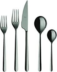 Mepra Cutlery PCS Linea Oro Nero 5 Piece Place Setting, Gunmetal Black