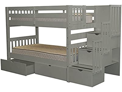 Bedz King Stairway Bunk Bed Twin over Twin with 3 Drawers in the Steps and 2 Under Bed Drawers, Gray