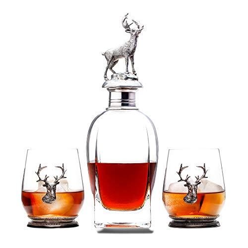 Milburga Premium Antique Pewter Stag Whiskey Decanter Set with 2 Glasses - Luxury Lead Free Crystal Liquor Decanter Set - Stylish Decanters and Exquisite Bar Accessories for Bourbon, Scotch or Whisky (Tall Crystal Decanter)