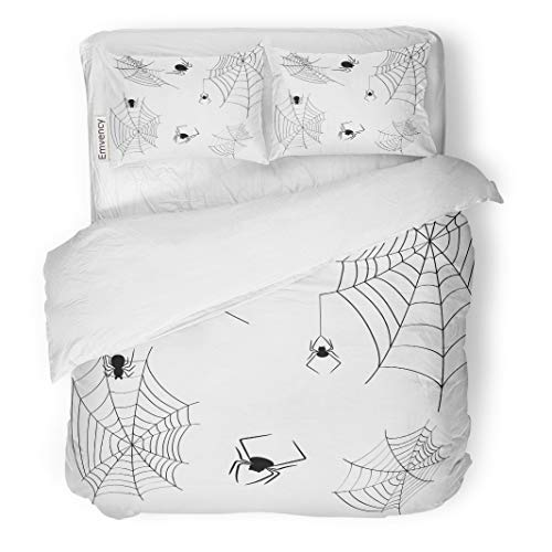 Semtomn Decor Duvet Cover Set King Size Halloween Cobwebs and Spiders on Sketch Abstract 3 Piece Brushed Microfiber Fabric Print Bedding Set Cover ()