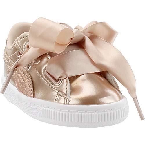 PUMA Baby Basket Heart Lunar Lux Kids Sneaker, Cream Tan, 10 M US Toddler