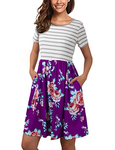 FANVOOK Prime Wardrobe Womens Clothing, Women's Short Sleeve Patchwok Floral Dress Dresses with Pockets (Large, Purple)]()