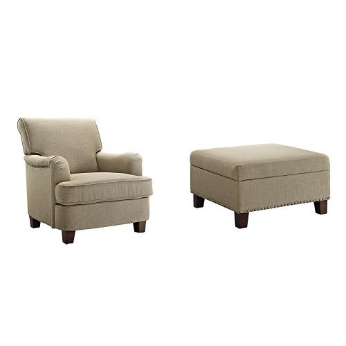 Dorel Living Rolled Top Club Chair with Nail Heads and Square Ottoman, Oatmeal Club Chair Ottoman