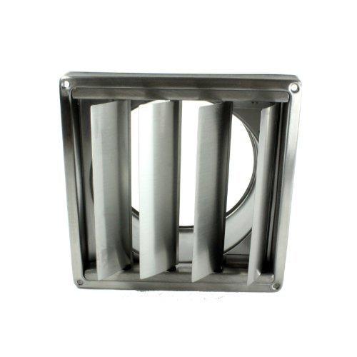 First4Spares Stainless Steel Square External Extractor Wall Vent Outlet With Gravity Flaps 150Mm 6''