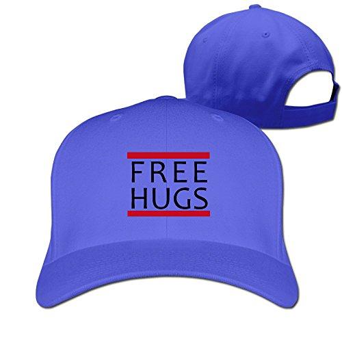(Unisex Free Hugs Hip Hop Trucker Sandwich Peaked Hat RoyalBlue)