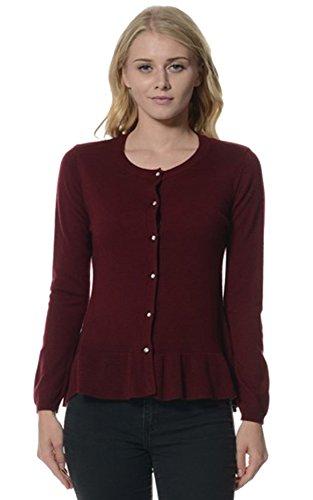Bloom Women's Rhinestone Button-up Ruffle Hem Sweater Cardigan