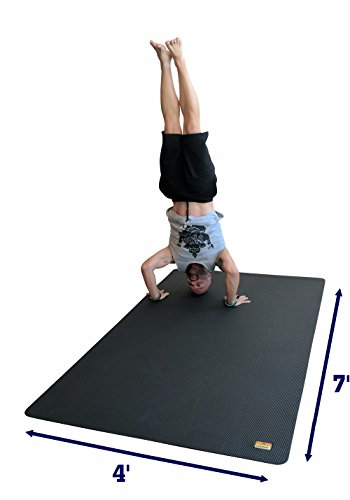 Pogamat Large Yoga Mat and Stretching Mat – 7ft X 4ft x 7mm Thick (84″x 48″) Anti-Tear Non Slip Exercise Yoga Mats Extra Long 7 ft Memory Foam Yoga Mats for Yoga and Cardio Fitness Mat Without Shoes