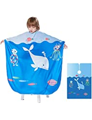 Barber Cape for Kids - Ymnenvxo Professional Hair Salon Cape with Adjustable Snap Closure Waterproof Hair Cutting Cape for Salon and Home - 51 x 36 inches (Ocean World)
