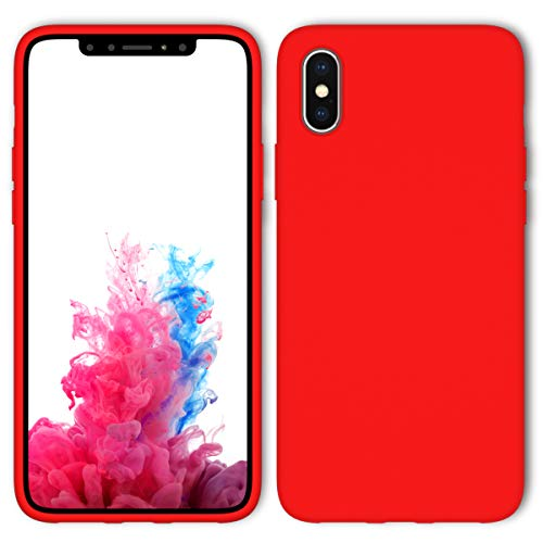 iPhone X Case, iPhone Xs Case with Screen Protector Tempered Glass, Aucaeo 360 Shockproof Protective Liquid Silicone Cases Ultra Thin Slim Cover for Apple iPhone X/XS 5.8 inch 2018, Red