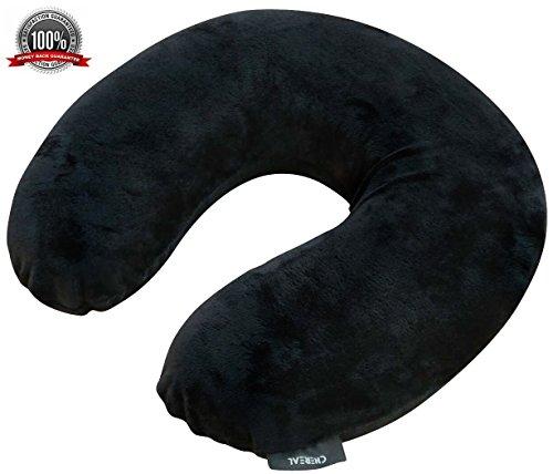 Travel Pillow Black U-Shape for Neck 100% Super SOFT Memo...