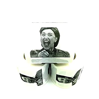 3 Rolls Laughing Hillary Clinton Toilet Paper, Novelty Political Gag Gift