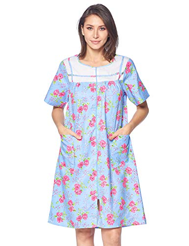 (Casual Nights Women's Zipper Front House Dress Short Sleeves Duster Lounger Housecoat Robe, Floral Blue, 3X-Large)