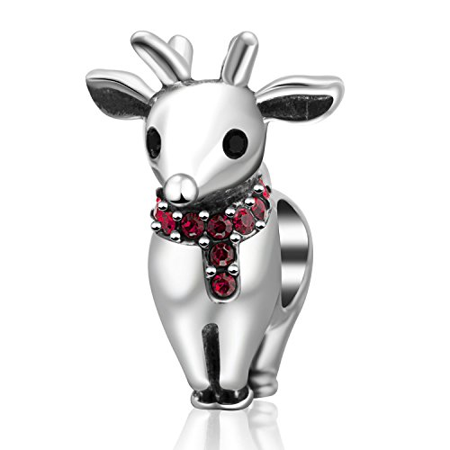 Merry Chrismas Gift 925 Sterling Silver Charm Reindeer&Christmas Stocking Bead Xmas Present Idea fit for Pandora Charms Bracelet(Red Reindee)