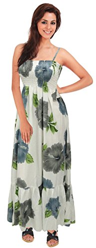 La Leela Women's Casual Hibiscus vintage leaf flower floral Beachwear Camp Beach aloha - Aloha Dress