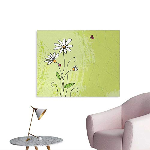 Tudouhoho Daisy Custom Poster Hand Drawn Style Chamomile Flowers on Green Backdrop with Ladybugs and Grunge Look Photographic Wallpaper Multicolor W36 xL24