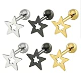 Beydodo Surgical Stainless Steel Earring Set Star Earrings for Women 3 Pairs/6Pcs Stud Earrings, Star