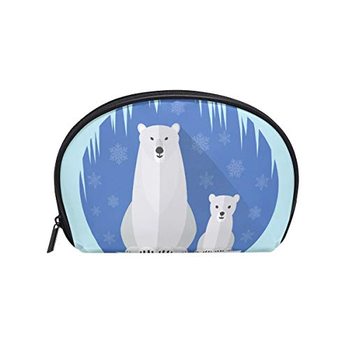 Senya Travel Cosmetic Bag Small Makeup Portable Carry Case Pouch Girls Women Personalized Organizer Tote Bag For Jewelry Toiletries Polar Bear Flat Antarctica -