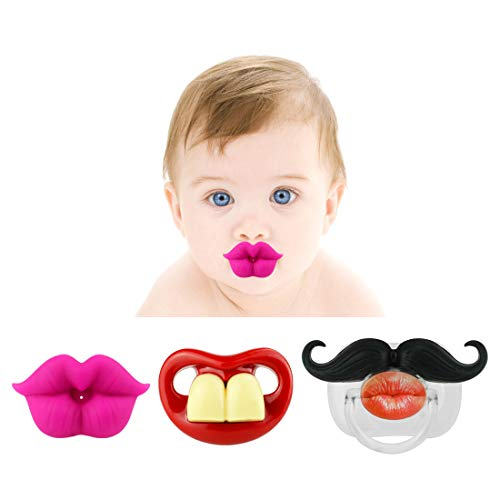 Funny Baby Mustache Pacifier: Cute Baby Pacifiers Designed with Adorable kiss Lips, Funny Teeth and Mustaches Make Them a Perfect Baby Shower Gift for Small Boys or Girls!