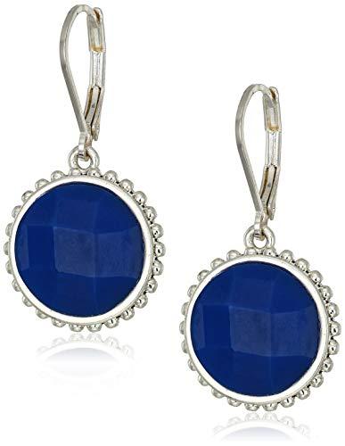 Napier Women's Silver Blue Leverback Circle Drop Earrings