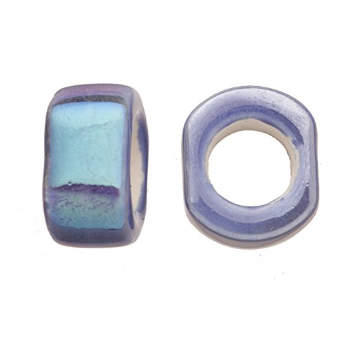 Blue Moon Beads Wholesale (8pcs Spectrum Blue Porcelain Slider Beads For Licorice Leather - Cube Style Glaze Finish 18x11mm)