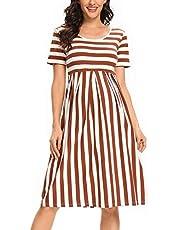 BBHoping Women's Maternity Dress Short Sleeve Knee Length Casual Summer Pregnancy Dress