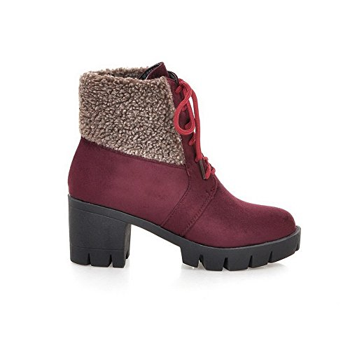 Lace Top Low Closed Round WeiPoot up Claret Boots High Solid Heels Women's Toe q6I4wE