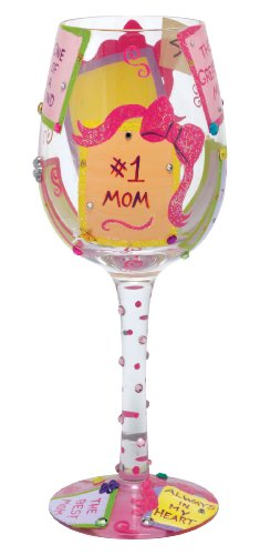 "Designs by Lolita ""#1 Mom"" Hand-painted Artisan Wine Glass, 15 - Barbara Santa Outlets"