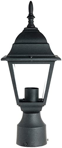 SUNLITE ODI1150 15-Inch Decorative Light Post Outdoor Fixture, Black Finish with Clear Glass