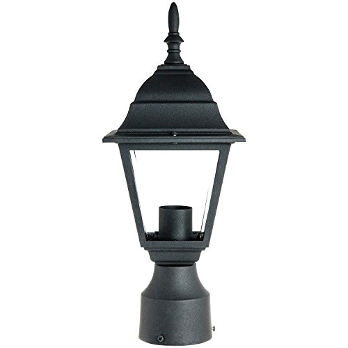Sunlite ODI1150 15-Inch Decorative Light Post Outdoor Fixture, Black Finish with Clear Glass by Sunlite