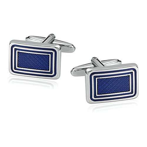 Aooaz Mens Stainless Steel Cufflinks Stripe Rectangle Blue Business Wedding Shirt 1.8x1.2cm
