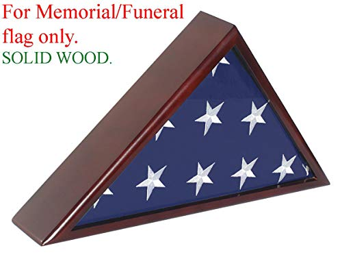 (Solid Wood Memorial Flag Case Frame Display Case for 5x9.5' Flag Folded. for Funeral or Burial Flag, FC60-MAH)
