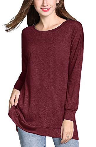 (GSVIBK Womens Round Neck Pullover Tunics Shirts Casual Long Sleeve Side Split Tunic Top Loose Pullover Tunic Sweatshirts Wine Red 209)