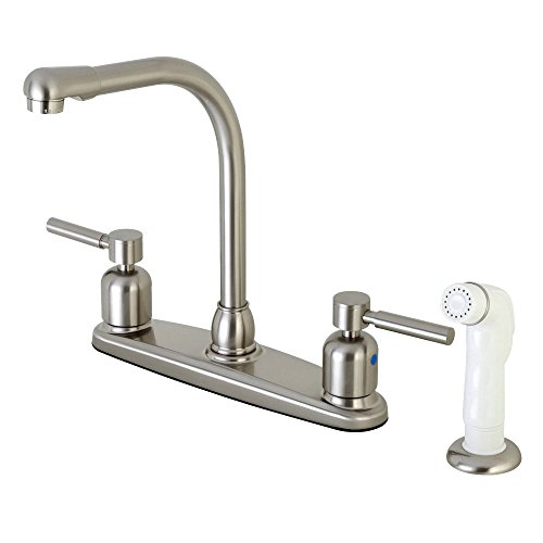 Kingston Brass FB718DL Concord 8-Inch Center Set High Arch Kit Faucet with Plastic Sprayer, Brushed Nickel