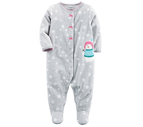Fleece Pj Girls Sleepwear (Carter's Baby Girls' Snowman Snap up Fleece Sleep and Play 3 Months)