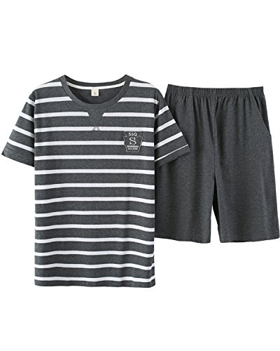 Big Boys Sweet Smile Striped Soft Cotton Pajama Sets Loungewear(10y-18y) ()