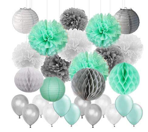 Baby Shower Decor 45pcs/Set Mint Green Gray White Tissue Paper Pom Poms Paper Lanterns Paper Honeycomb Balls Latex Balloon Wedding Bridal Shower Birthday Party -