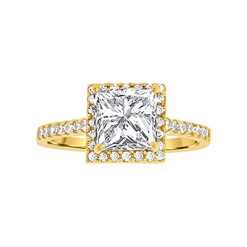 14k Yellow Gold, Micro Pave Lady Engagement Ring Princess Cut Created CZ Crystals 1.0ct Size 8 by GiveMeGold