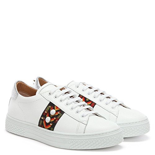 White Multicoloured Daniel Studliest Trainers Embellished White Leather xEE1Bwrn